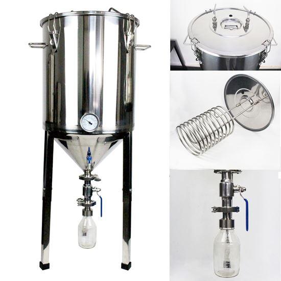 Bild von Gärbehälter zylinderkonisch 60 Liter inkl. Würzekühler und Hefeglas